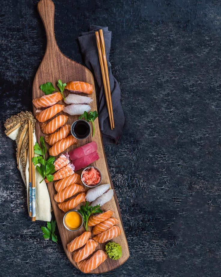 """""""Rainy Thursday night sushi board. It's legit raining so hard here that the wind is making our doorbell ring. Crazy. Have a great evening all!!"""""""
