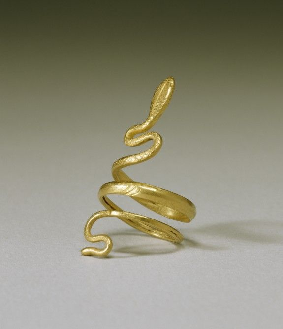 Roman Snake Ring - Solid-gold bracelets and rings in the form of snakes were among the most popular objects in Greek and Roman jewelry. The snakes symbolize fertility and were intended to ward off evil. Roman, 1st century