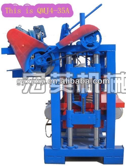 1.Hongying QMJ4-35A machine to make concrete blocks  2.Manual operation  3.Only can produce need three http://www.batchcrete.com.au/