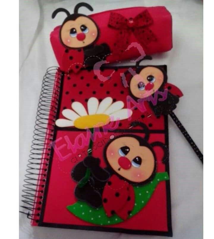 Resultado de imagen para cuadernos decorados en goma eva de mariquitas