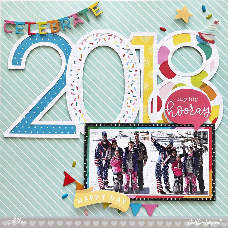 2018 New Years Scrapbook Layout and free cut file by #HeatherLeopard using #PebblesInc #happyhooray #girlsquad #madewithpebbles #silhouettecameo #2018 #scrapbooklayout