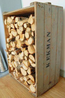 Vedförvaring i trälåda Wood storage