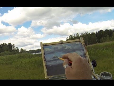 Acrylic Painting Demo In Real Time - Painting Clouds And A Lake