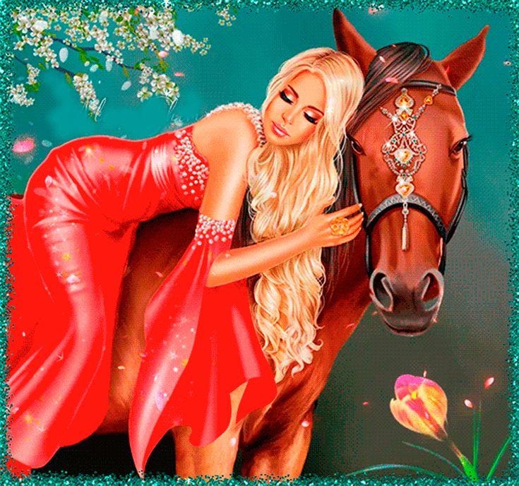 Счастья друзьям, девушка на лошади анимации
