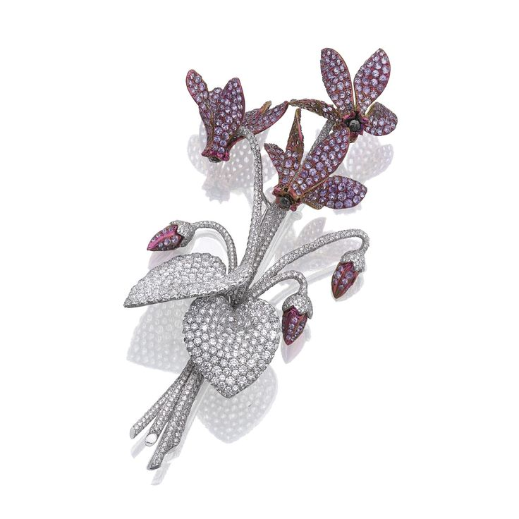 PURPLE SAPPHIRE AND DIAMOND BROOCH, 'CYCLAMEN', MICHELE DELLA VALLE Designed as a bouquet of cyclamen, set with circular-cut purple sapphires and brilliant-cut diamonds, mounted in titanium and white gold,