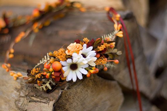 Flower head wreath head piece colorful summer by EvaFlowersDesigns