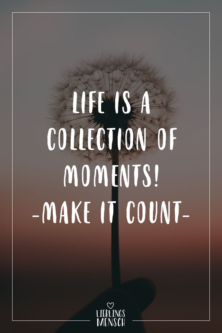 Visual Statements®️ Life is a collection of moments! – Make it count – Sprüche / Zitate / Quotes / Lieblingsmensch / Freundschaft / Beziehung / Li…