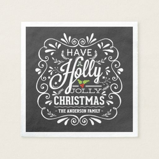 Holly Jolly Christmas Chalkboard Paper Napkins