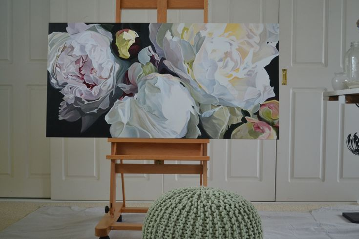 "'Cosette' - white peonies Original painting 24 x 48"". Acrylics on canvas with oil glaze"