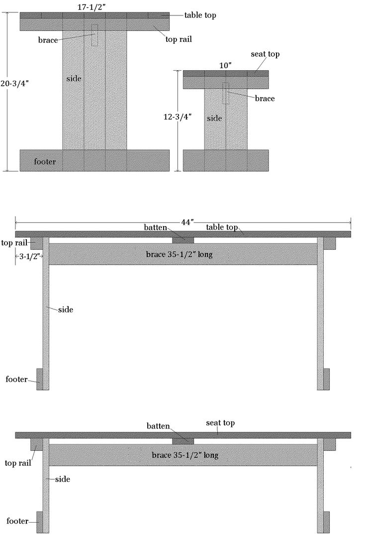 kids picnic table and bench plans
