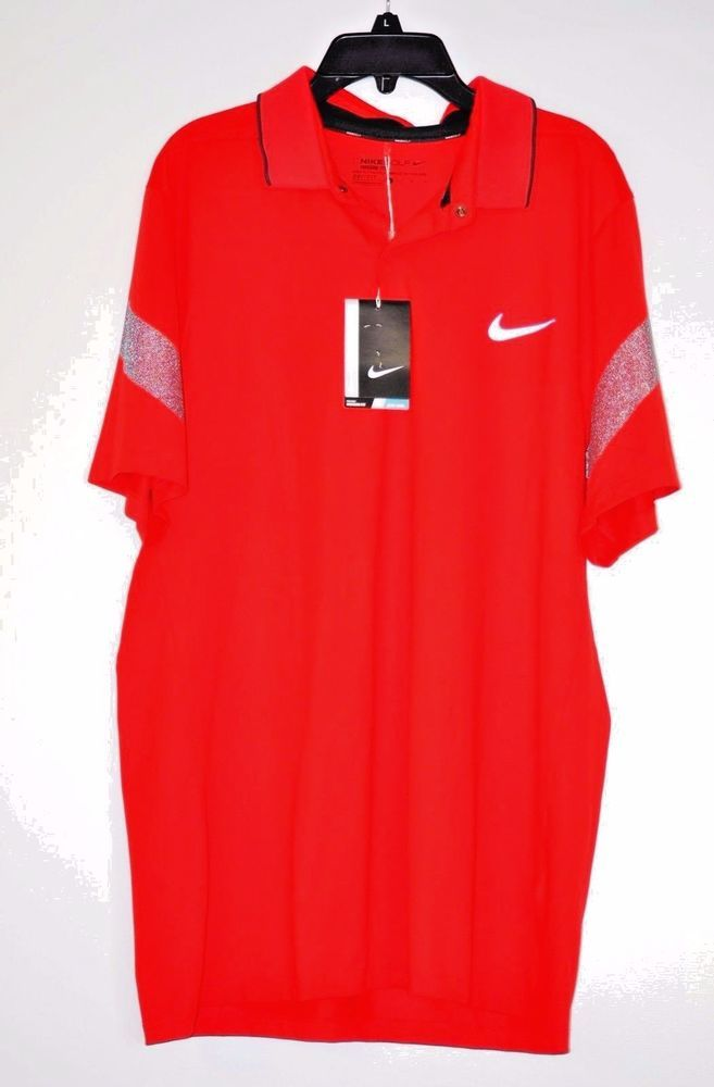 Nike Men MM Fly Framing Commander Dri-FIT Golf Polo University Red size L #NikeGolf #PoloRugby