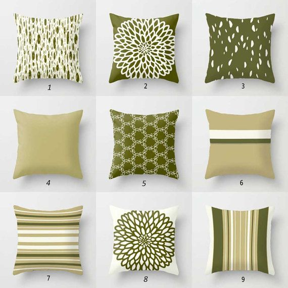 Olive Green Pillow Covers, Dark Green, Cream Throw Pillows, Striped Pillow, Dot Pillow, Designer Pillows, Decorative Pillows, Mix and Match