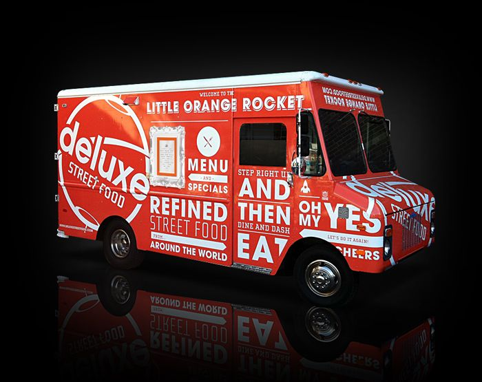 Food Inspiration Branding Identity And Vinyl Vehicle Wrap For The Deluxe  Street Food Truck.