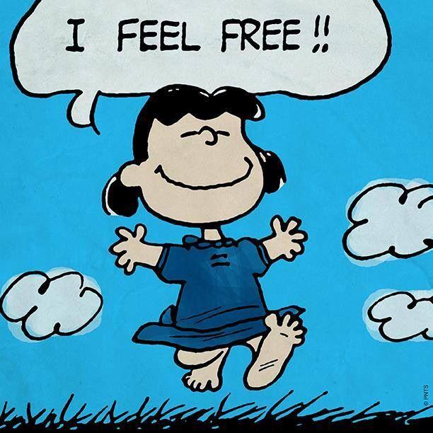 'I Feel FREE!', Lucy Van Pelt runs barefoot through the grass.