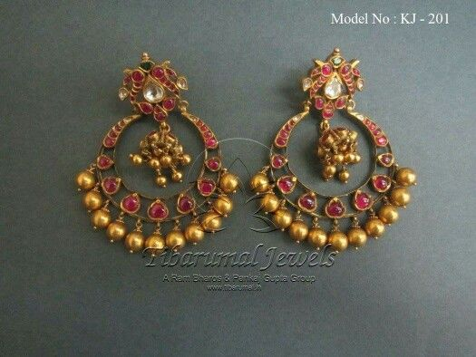 Pota ruby and gold drop,antique Chanbali earrings