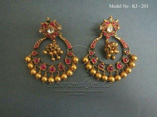 Pota ruby and gold drop,antique Chanbali earrings