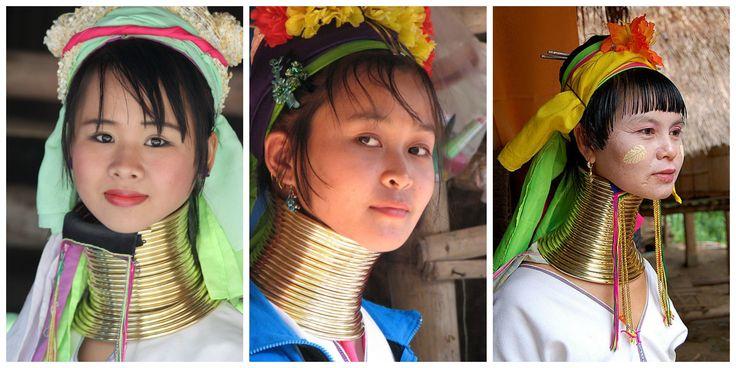 """Viaje de Novios a Tailandia: Las """"mujeres jirafa""""  Estos collares se empiezan a colocar cuando las niñas tienen entre 5 y 9 años, utilizando una crema hecha con grasa de perro, y cada año se va añadiendo un aro más hasta alcanzar un alargamiento de 30 centímetros aproximadamente."""