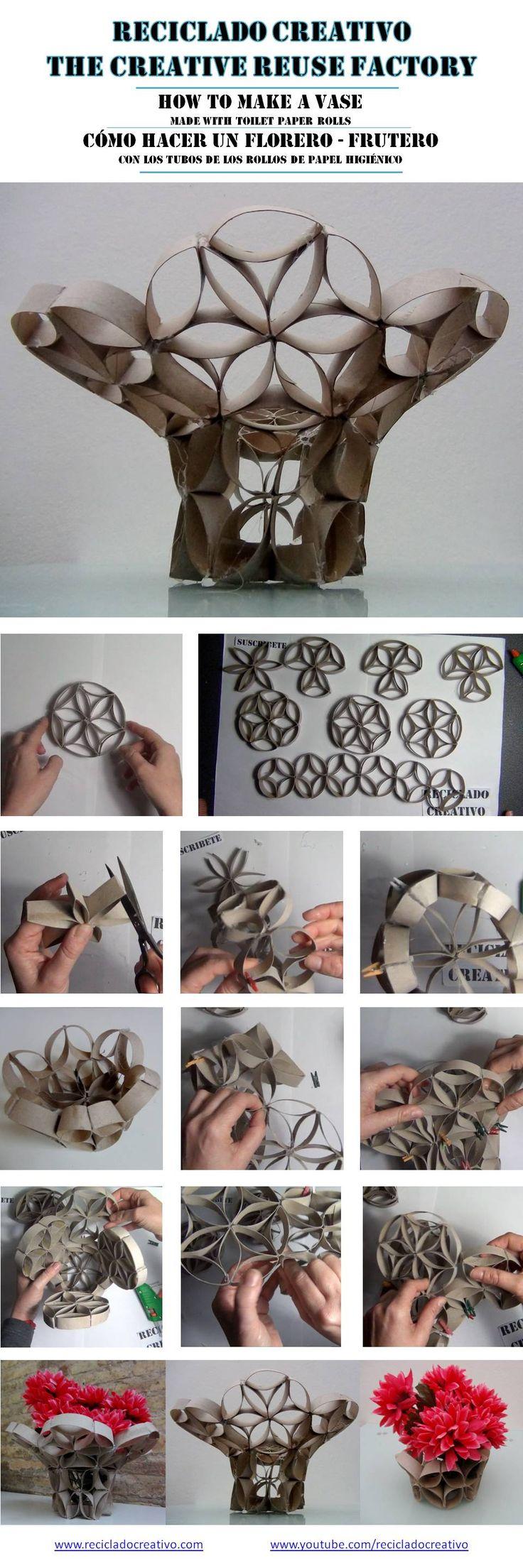 C mo hacer un florero con tubos de rollo de papel for Como decorar un rollo de papel higienico