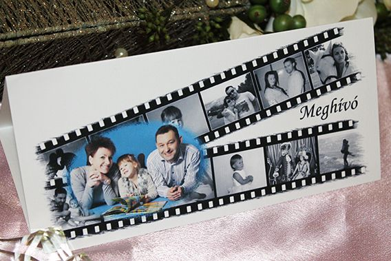 invito matrimoniale a forma di pellicola cinematografica con dodici fotogrammi
