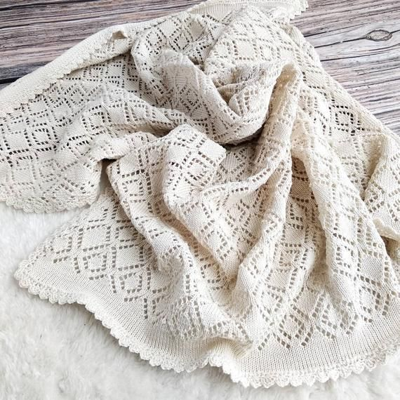 Lace Knit Baby Blanket Beige Christening Baby Blanket In 2020 Wool Baby Blanket Baby Knitting Christening Baby Blanket