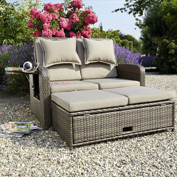 Rattan Lounge 2er Garten Sofa Das Auch In Ein Bett Verwandelt Werden Kann Garten Lounge Gartensofa Lounge