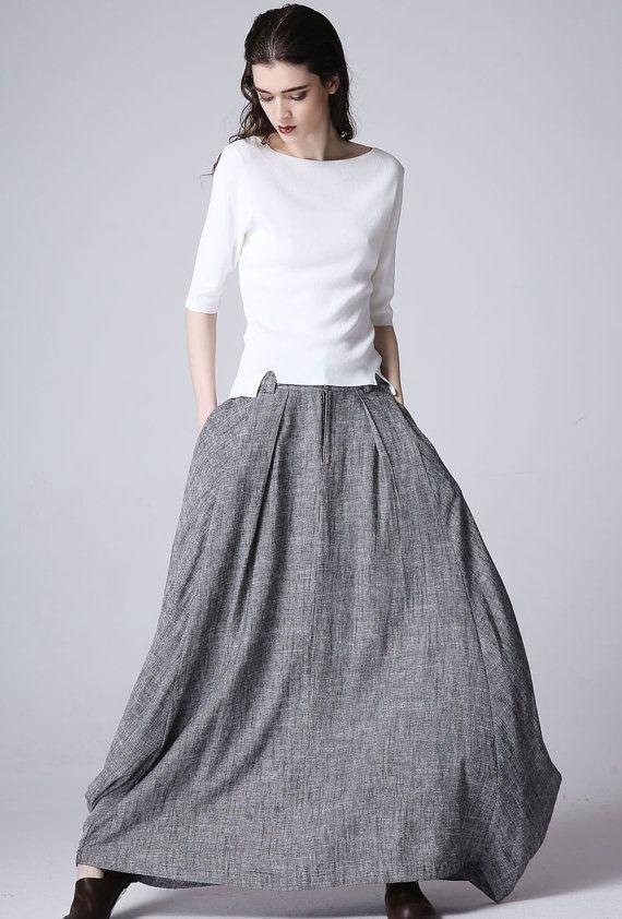 Gray linen skirt maxi skirt women skirt (1187)