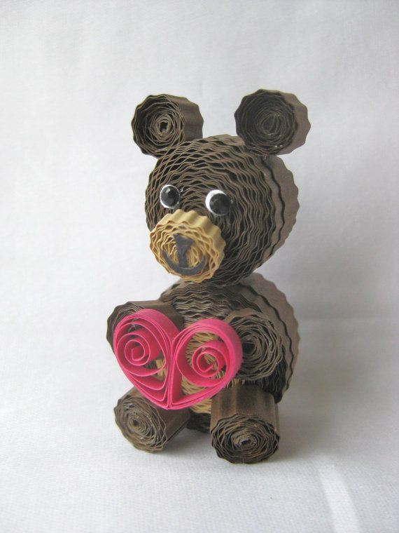 Quilled valentines bear