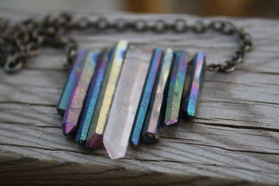 Raw quartz rainbow aura crystal fringe necklace. by soleydesigns