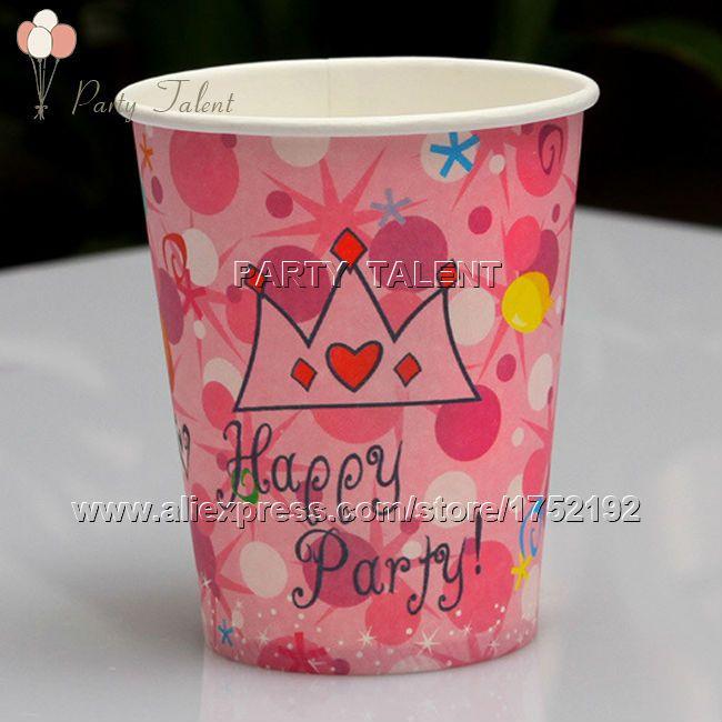 Ну вечеринку поставляет 20 шт. день рождения розовый тема ну вечеринку украшения одноразовая посуда бумаги разовые чашки розовый корона мультфильм шаблон