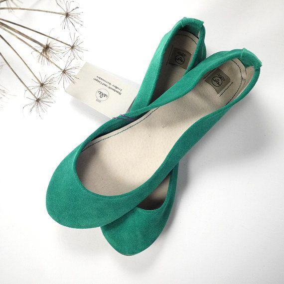 Emerald Aqua Green Suede Handmade Ballet Flats by elehandmade, $98.00