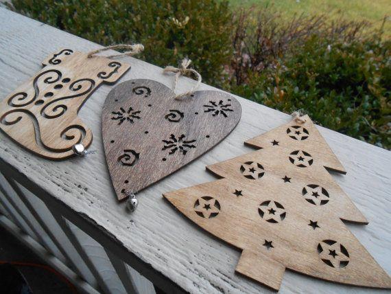 Set di 3 ornamenti taglio Laser. Albero calza cuore.