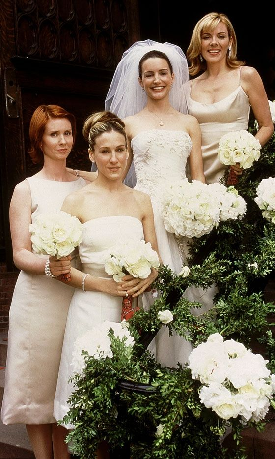 Carrie Bradshaw With Miranda Hobbs And Samantha Jones At Charlotte York's Wedding To Tray, Season 3