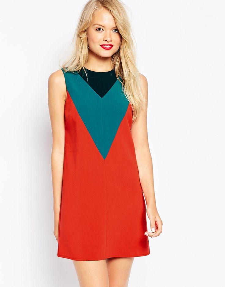 ASOS Shift Dress in Colourblock with V-Detail