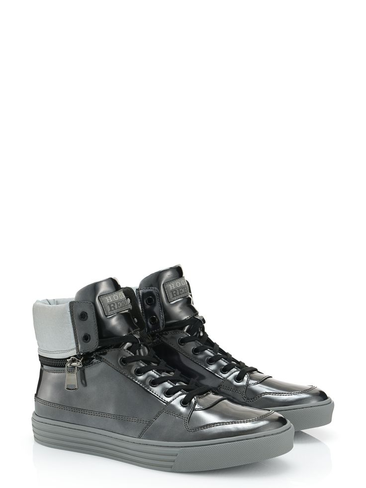 Hogan Rebel - R206 - HXM2060L56059W001K - Metallic-effect leather high-top sneakers with high-tech fabric detailing, back zip and detachable padded ankle collar. Versatile, for an urban look. - Coated split leather upperNylon detailingPadded ankle collar with zipRubber outsoleHigh quality hides that underwent special treatments which add a glossy, metallic and mirrored effect to this leather. It's very delicate and subject to abrasions and scratches. Pay careful attentionClea