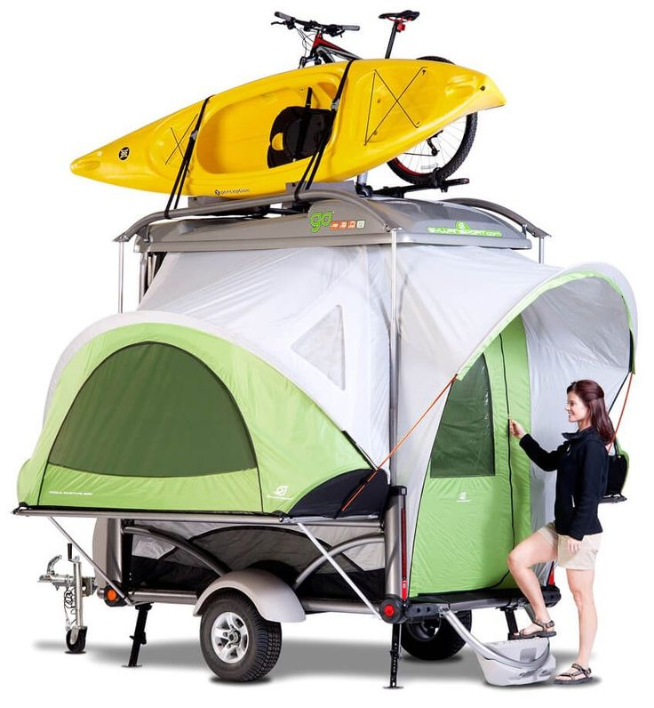 The SylvanSport GO - Comes with rear awning, 4 air mattresses, 2 bed/table panels, spare tire kit, more. The fully loaded GO camping-trailer, only $9,995 (price includes all shipping charges)Buy Direct or find a SylvanSport GO Dealer near you.
