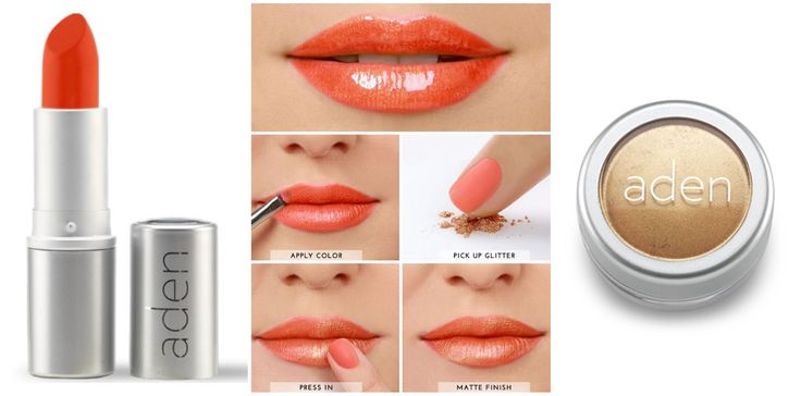 Golden Orange lips tutorial with ADEN products.