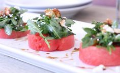 Watermelon Salad with Arugula, Goat Cheese, & Candied Walnuts
