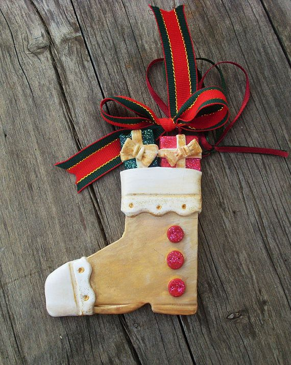 CHRISTMAS BOOT   Ceramic Ornament by allabouthandicraft on Etsy