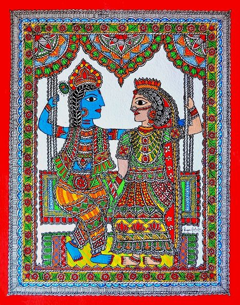 Krishna Radha Romance in Mithila / Madhubani Painting. Artist: Nupur Nishith