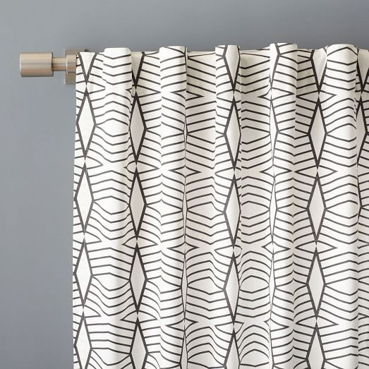 Cotton Canvas Diamond Stripe Curtain - Stone White/Slate | west elm