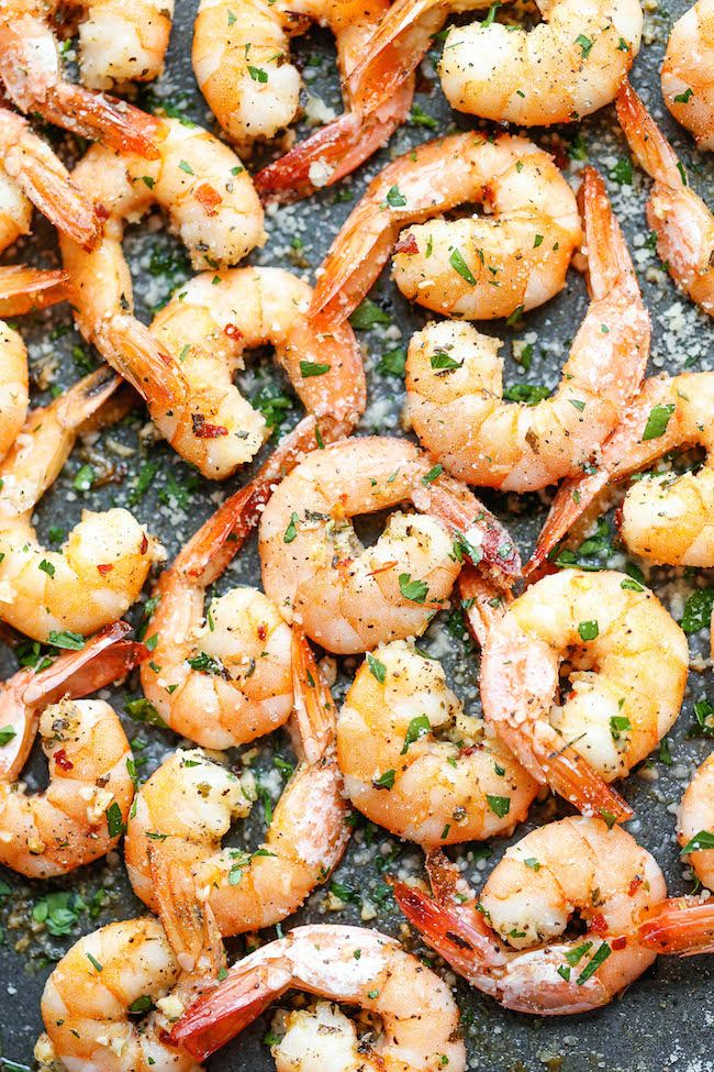 Garlic Parmesan Roasted Shrimp - The easiest roasted shrimp cocktail ever made with just 5 min prep.
