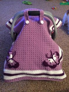CROCHET car seat cover I love this but I don't think my sister in law would I even love the colors