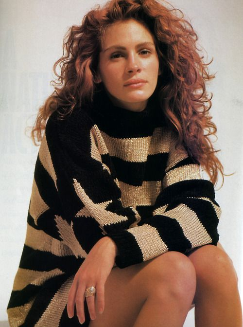 Julia Roberts, photographed by Brigitte Lacombe for Mirabella magazine, November 1989. Sweater by Perry Ellis America.