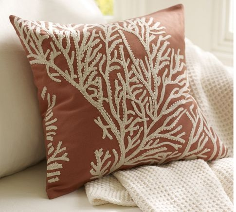 for me: Coral Pillows, Pillows Covers, Living Rooms, Pottery Barns Pillows, Embroidered Pillows, Applique Pillows, Throw Pillows, Couch Pillows, Coral Embroidered