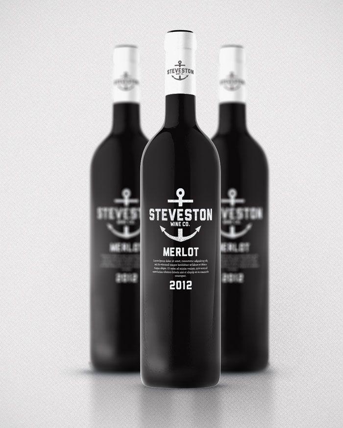 Steveston Village house wine concept designed by Kristian Hay, a Canadian graphic designer. | #wine #packaging #black | www.behance.net/kristianhay