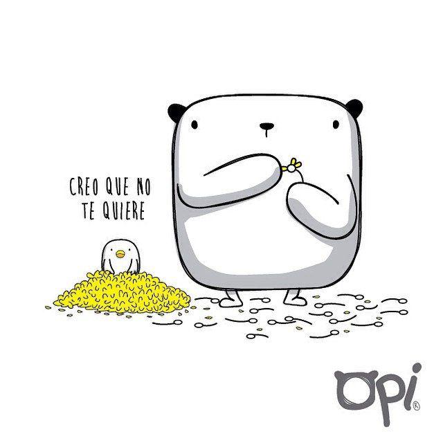 Creo que no te quiere! #opi #cute #kawaii#bear #illustration #draw #oso #ilustración #dibujo