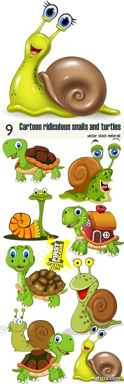 Cartoon ridiculous snails and turtles
