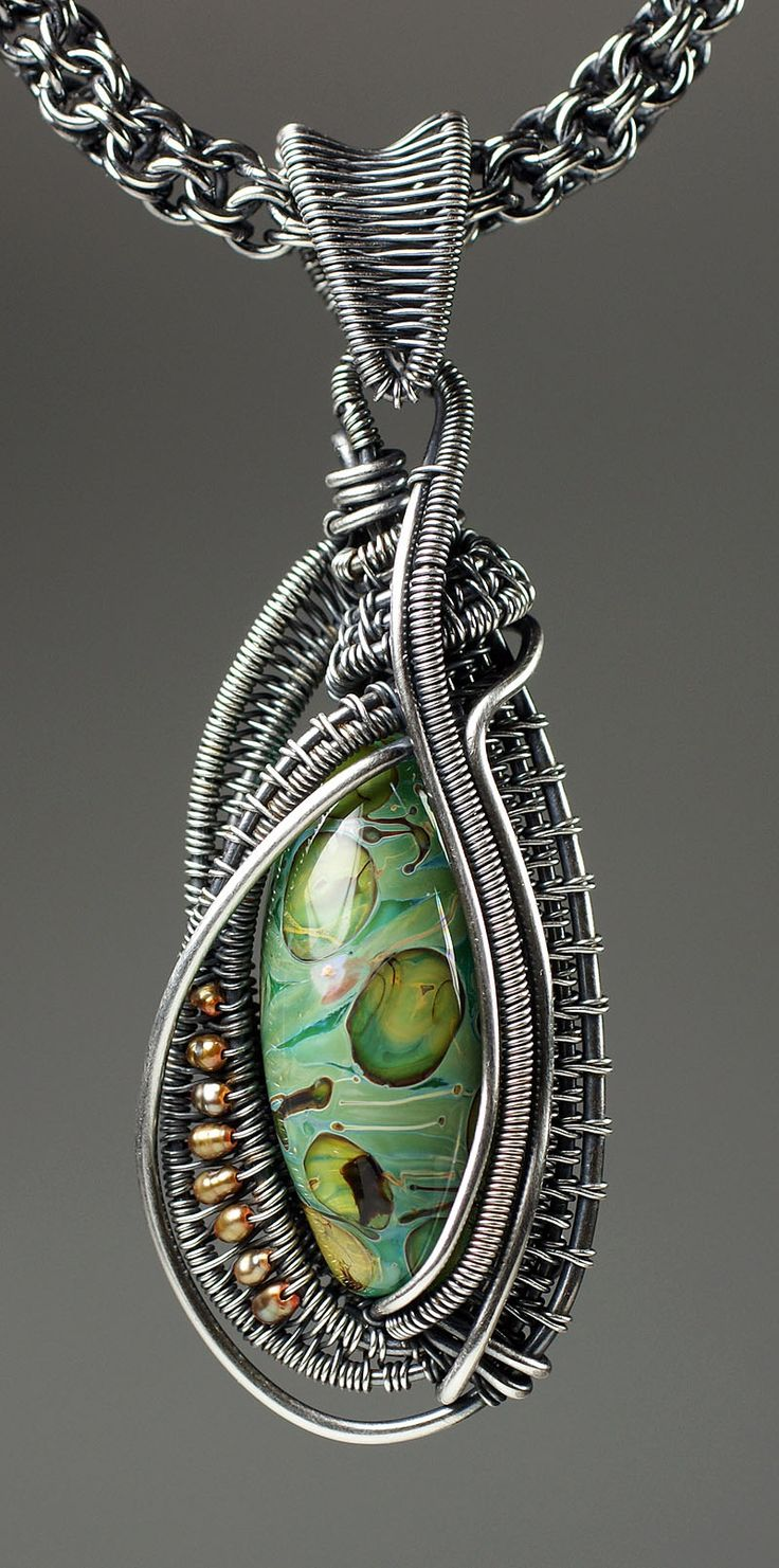 Oval Bead Wire-Woven Pendant - Bead&Button Show