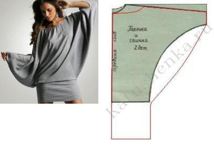 Patrón manga murciélago.   Patrones de blusas   Pinterest   Tunic ...