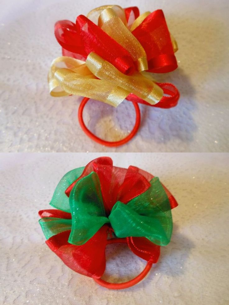 XMAS GIRLS PARTY CHIFFON PUFF BOBBLE RIBBON ELASTIC HAIR ACCESSORY  #HandmadebyBONNIEBOBBLES